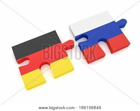 Germany Russia Partnership: German Flag And Russian Flag Puzzle Pieces 3d illustration on white background