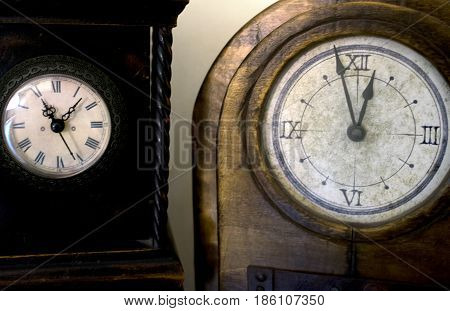 concept of past time with antique clocks