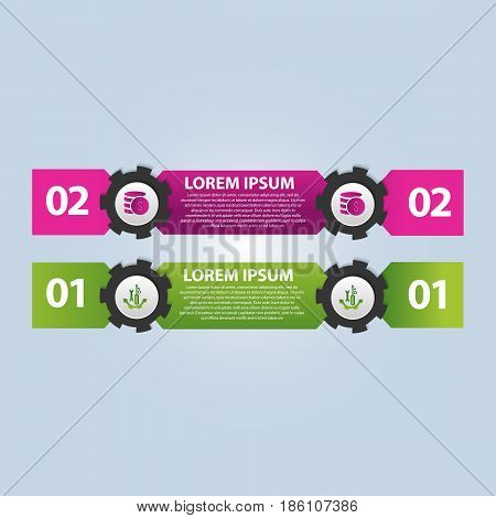 Vector Illustration. Infographic Template With The Image Of 2 Rectangles And Gears. 3D Style With Tw