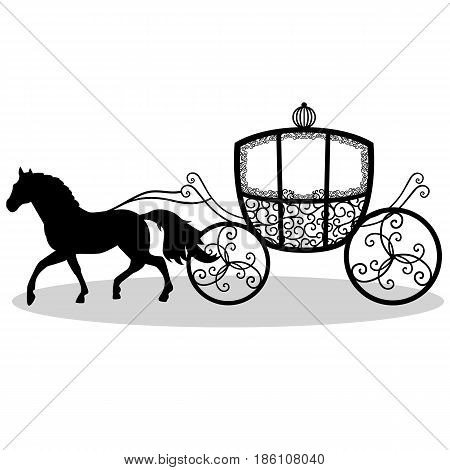 Decorative brougham. Coach. Wedding carriage. Vintage carriage with the horse isolated on white background. Also suitable for invitation card. Vector illustration.