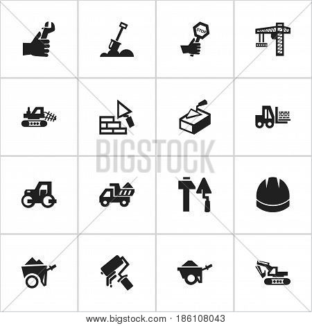 Set Of 16 Editable Structure Icons. Includes Symbols Such As Hands , Scrub, Excavation Machine. Can Be Used For Web, Mobile, UI And Infographic Design.