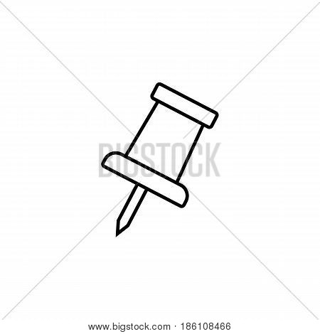 Push pin line icon, office and school sign, vector graphics, a linear pattern on a white background, eps 10.