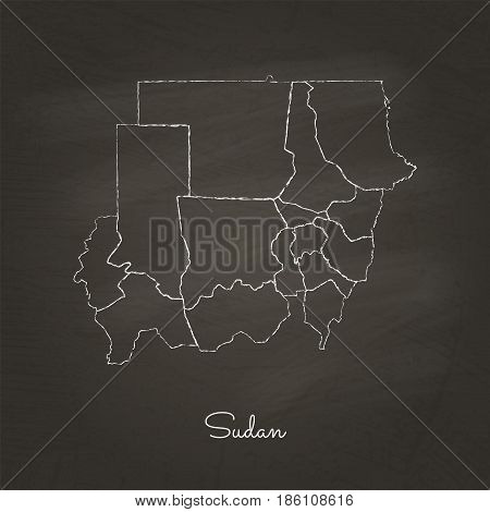 Sudan Region Map: Hand Drawn With White Chalk On School Blackboard Texture. Detailed Map Of Sudan Re