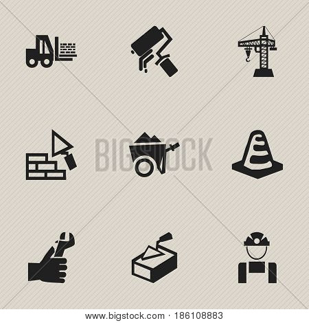 Set Of 9 Editable Structure Icons. Includes Symbols Such As Truck , Elevator, Hands. Can Be Used For Web, Mobile, UI And Infographic Design.