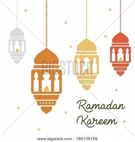 Ramadan concept. Ramadan kareen lanterns holiday with lettering isolated