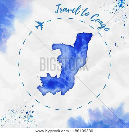 Congo Watercolor Map In Blue Colors. Travel To Congo Poster With Airplane Trace And Handpainted Wate
