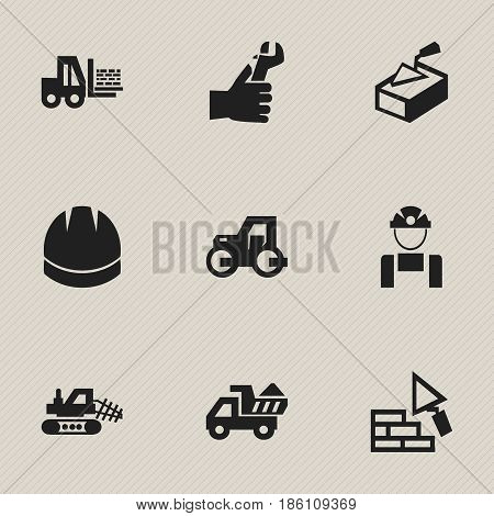 Set Of 9 Editable Construction Icons. Includes Symbols Such As Mule, Hands , Facing. Can Be Used For Web, Mobile, UI And Infographic Design.