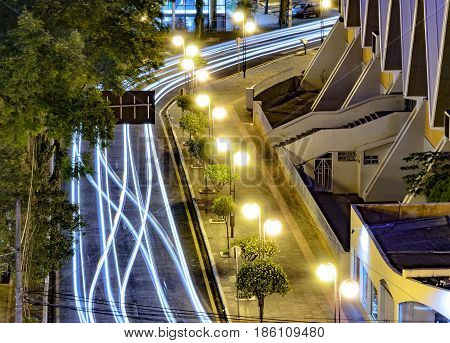 Light Trail Of Cars On A City Downtown With Nobody On Scene