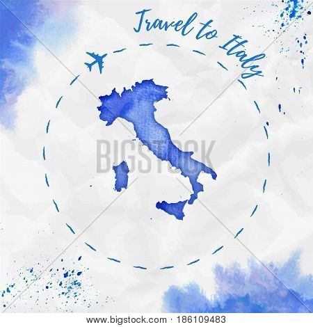 Italy Watercolor Map In Blue Colors. Travel To Italy Poster With Airplane Trace And Handpainted Wate