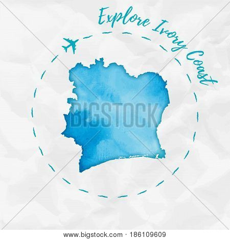 Ivory Coast Watercolor Map In Turquoise Colors. Explore Ivory Coast Poster With Airplane Trace And H