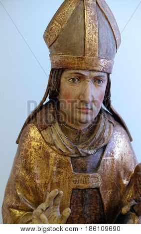 ZAGREB, CROATIA - FEBRUARY 17: Saint Virgil, the end of the 15th century, from the Church of St. Vitus in Vrbovec, Zagreb, Croatia on February 17, 2015.