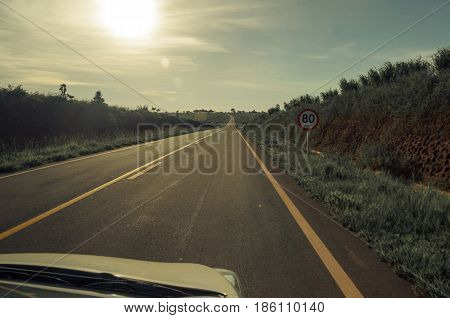 Vintage Toned Highway On A Sunny Day