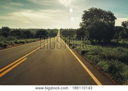 Vintage Toned Highway With Fields Around