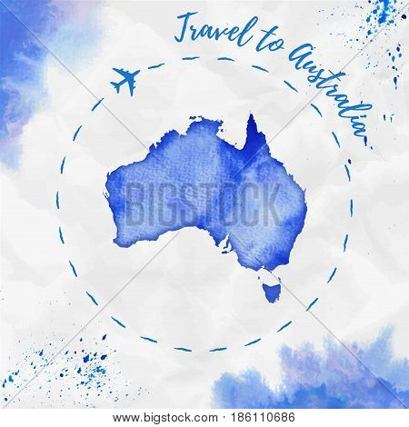Australia Watercolor Map In Blue Colors. Travel To Australia Poster With Airplane Trace And Handpain