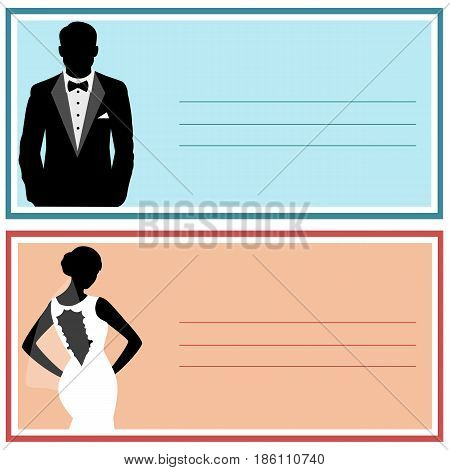 Wedding invitation with the bride and groom. Bride and groom. Wedding card. Vector illustration.