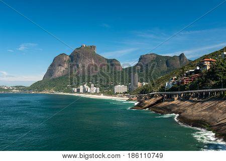 Beautiful Coast of Rio de Janeiro With Sao Conrado Beach, Pedra da Gavea and Pedra Bonita Mountains