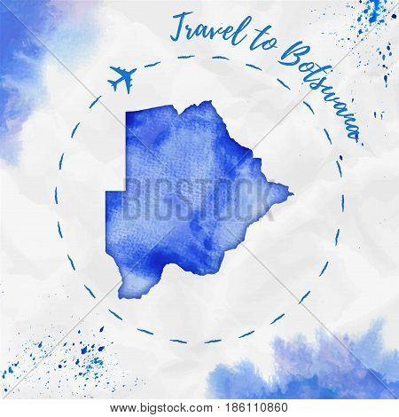 Botswana Watercolor Map In Blue Colors. Travel To Botswana Poster With Airplane Trace And Handpainte