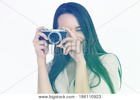 Woman Hands Hold Camera Snap Portrait Studio