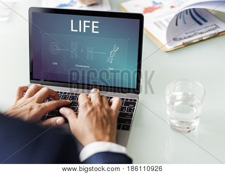 Business Man working on the laptop with Chromosome DNA on the screen