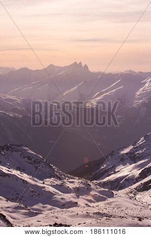 beautiful sunset on mountain at winter seasson and fresh snow
