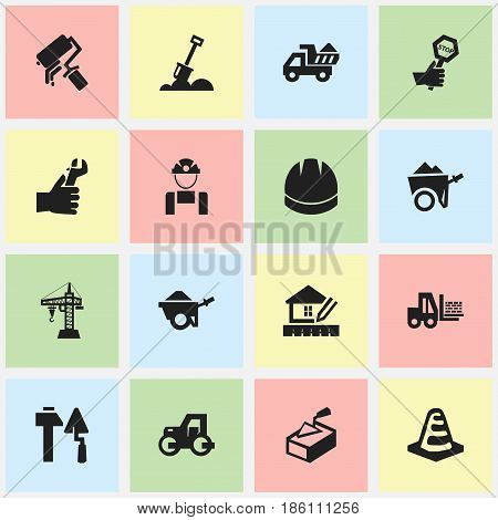 Set Of 16 Editable Construction Icons. Includes Symbols Such As Construction Tools, Trolley, Scrub And More. Can Be Used For Web, Mobile, UI And Infographic Design.