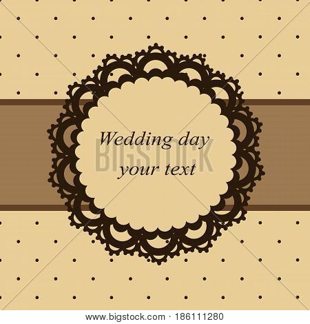 Invitation card in vintage style. The openwork frame. Wedding invitation. Vector illustration.
