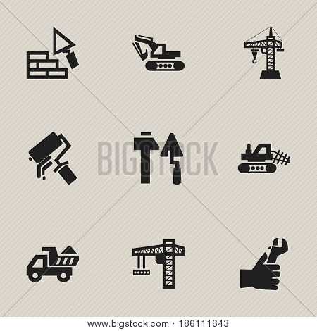 Set Of 9 Editable Structure Icons. Includes Symbols Such As Hands , Excavation Machine , Mule. Can Be Used For Web, Mobile, UI And Infographic Design.