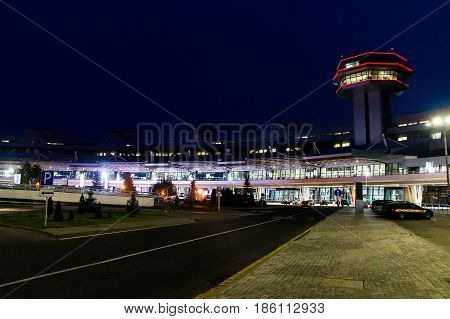 Belarus. National Airport Minsk. View on terminal and control tower