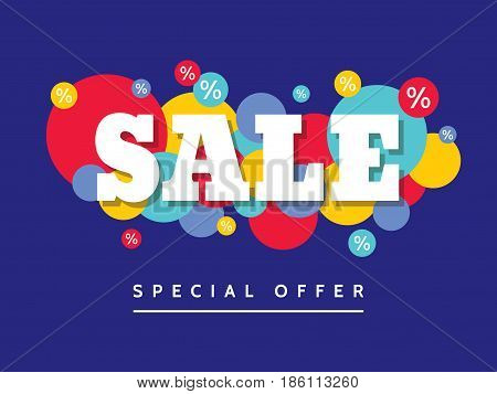 Sale - creative vector horizontal banner illustration with colored circles on blue background. Special offer promotion advertising layout. Abstract decorative design elements.