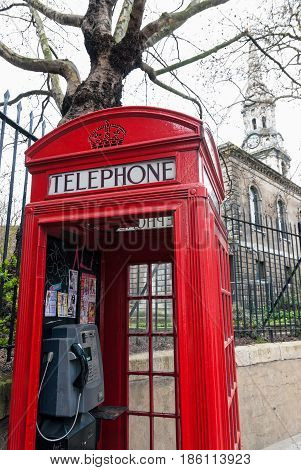LONDON, UK - APRIL 3, 2007: Traditional red telephone box on April 3, 2007 in London, UK