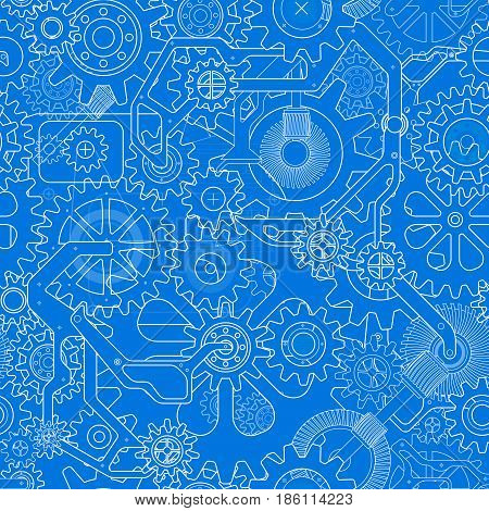 Clockworks mechanism in steampunk style illustration with many gears drawn blueprint, seamless pattern blue background illustration