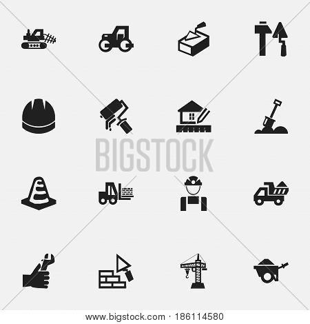 Set Of 16 Editable Construction Icons. Includes Symbols Such As Notice Object, Mule, Hardhat And More. Can Be Used For Web, Mobile, UI And Infographic Design.