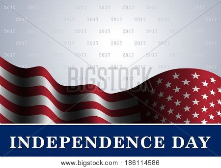 Independence day USA background with flag. Symbol of 4th july celebration the United State of America. Happy fourth july holiday patriotic flag banner template. Vector illustration