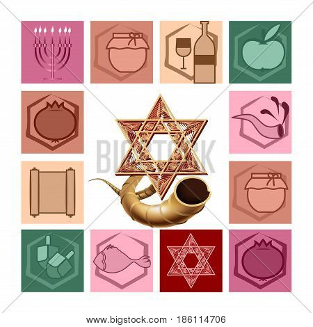 Symbols of Jewish holidays. Stars of David and Ram horn Shofar.Jewish menorah candelabrum. Vector illustration