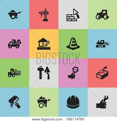 Set Of 16 Editable Structure Icons. Includes Symbols Such As Hands , Endurance , Notice Object. Can Be Used For Web, Mobile, UI And Infographic Design.