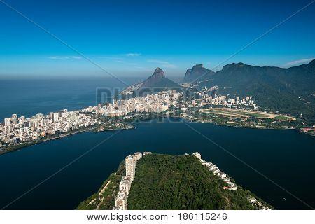 Rodrigo de Freitas Lagoon, Two Brothers and Pedra da Gavea Mountains, Ipanema and Leblon Aerial View, Rio de Janeiro, Brazil