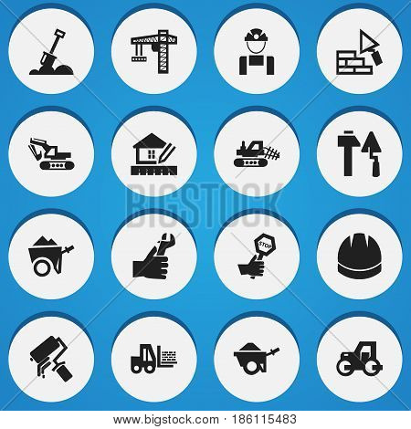 Set Of 16 Editable Building Icons. Includes Symbols Such As Endurance , Mule, Handcart. Can Be Used For Web, Mobile, UI And Infographic Design.