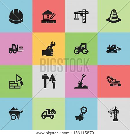 Set Of 16 Editable Structure Icons. Includes Symbols Such As Truck , Facing, Hands. Can Be Used For Web, Mobile, UI And Infographic Design.