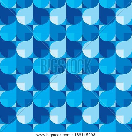 Abstract background in blue colors - creative vector illustration. Seamless pattern with water drops shapes. Design element.
