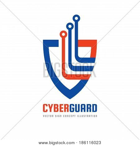 Cyber guard - vector logo template concept illustration. Shield and electronic computer chip creative sign. Protection antivirus symbol. Design element.