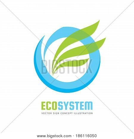 Ecology system - vector logo template concept illustration. Blue water ring and green leaves. Abstract nature sign. Design element.