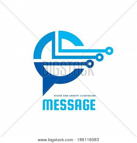 Message - vector logo template concept illustration. Speech bubble creative sign. Internet chat icon. Modern computer technology symbol. Abstract geometric design element.