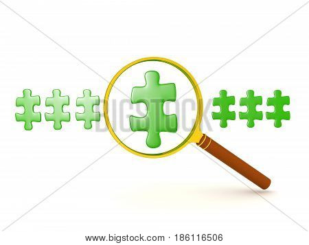 3D illustration of row of green puzzle pieces one being magnified. The image could convey finding a solution