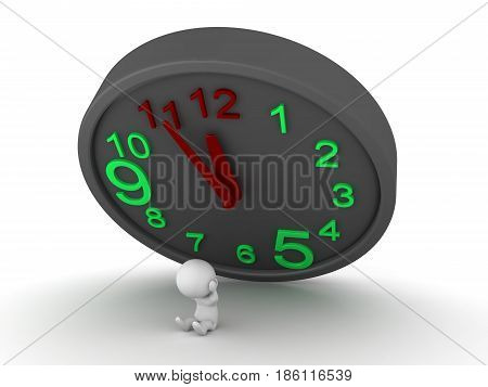 3D Character is stressed out since a deadline is looming over him. This is symbolized by a giant clock falling on him.