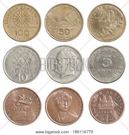 A complete set of the Greek drachma isolated on a white background