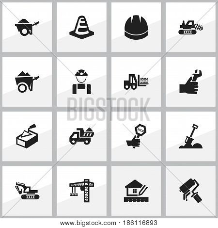 Set Of 16 Editable Construction Icons. Includes Symbols Such As Notice Object, Lifting Equipment, Excavation Machine And More. Can Be Used For Web, Mobile, UI And Infographic Design.