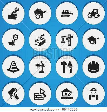 Set Of 16 Editable Construction Icons. Includes Symbols Such As Elevator, Spatula, Home Scheduling And More. Can Be Used For Web, Mobile, UI And Infographic Design.