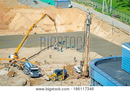 Belarus, Minsk - August 07/2016: Workers Are Building A Center For Olympic Training In Rhythmic Gymn