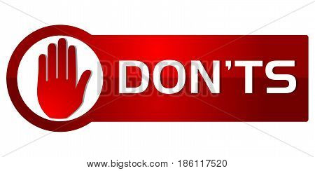 Donts Red Button Style on white background