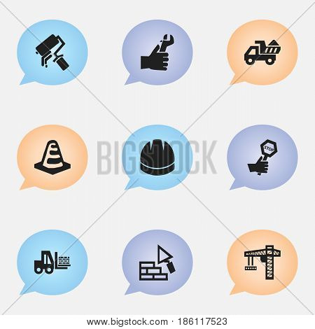 Set Of 9 Editable Construction Icons. Includes Symbols Such As Scrub, Truck, Camion And More. Can Be Used For Web, Mobile, UI And Infographic Design.